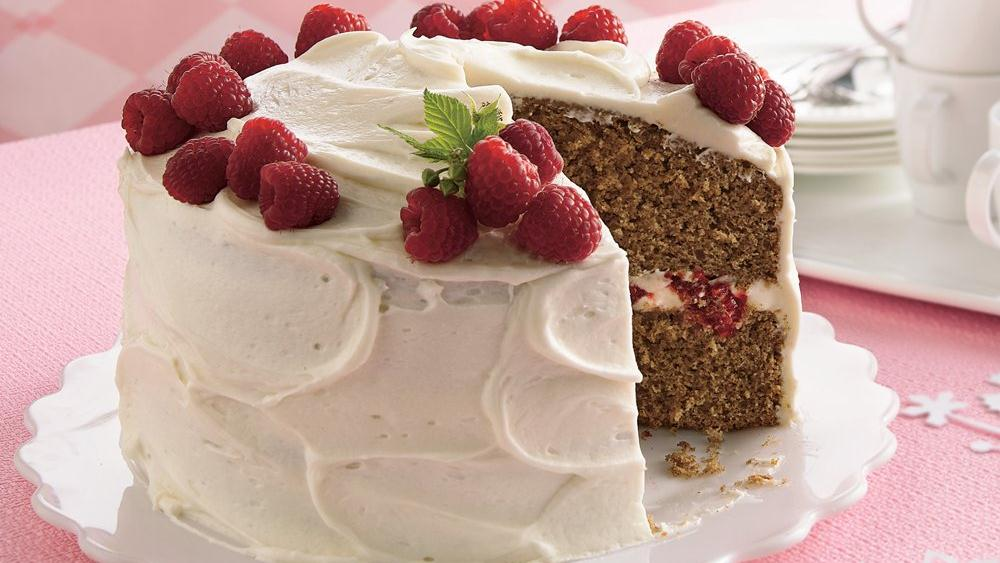 Spice Cake with Raspberry Filling and Cream Cheese Frosting