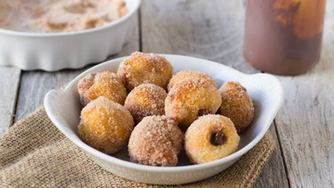 Chocolate-Caramel-Stuffed Doughnut Holes