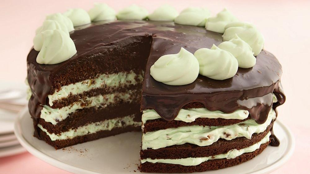 Pistachio Mousse Brownie Torte