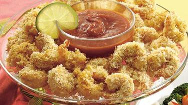Coconut Shrimp with Gingered Cocktail Sauce