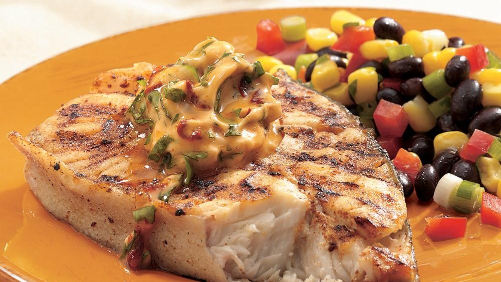 Grilled Halibut with Chipotle Butter