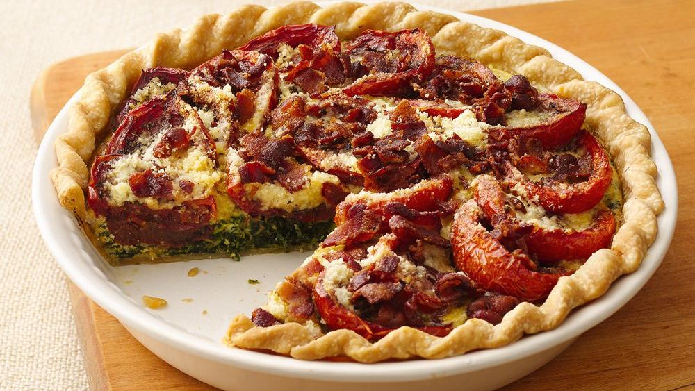 Balsamic Roasted Tomato-Spinach-Bacon Pie