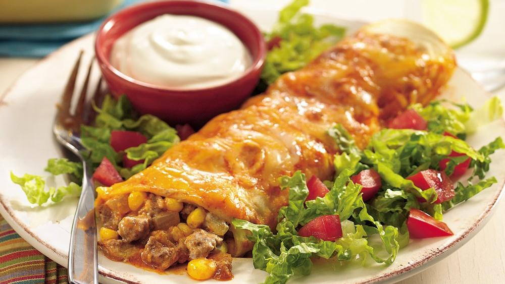 Beef and Green Chile Enchiladas
