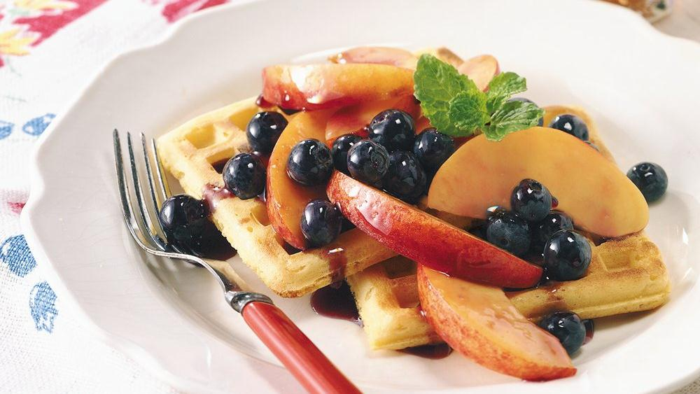 Waffles with Peach-Berry Topping