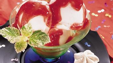 Lemon Sorbet with Strawberry Sauce