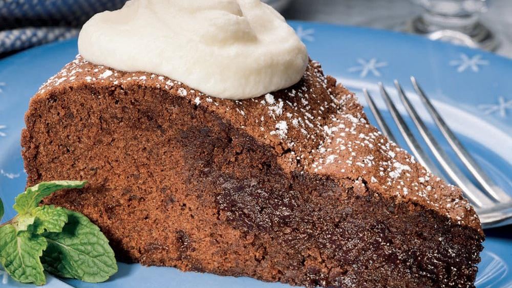 Brownie Soufflé Cake with Mint Cream