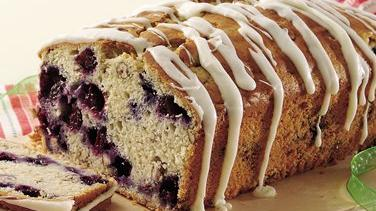 White Chocolate-Iced Blueberry Loaf