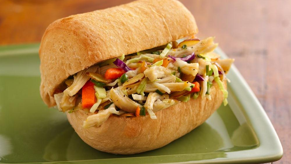 Tangy Asian Chicken and Coleslaw Rolls