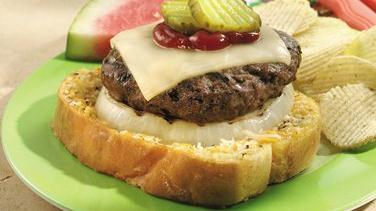 Open-Faced Onion Cheeseburgers
