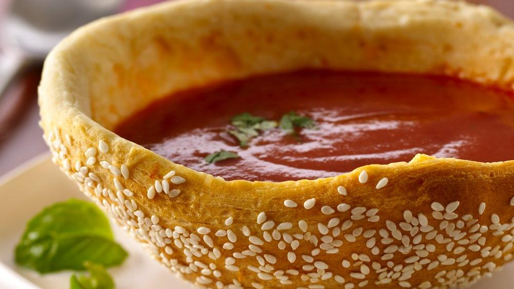 Tomato Basil Soup in Seeded Bread Bowls