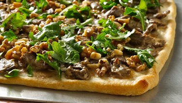 Steak Flatbread with Walnuts and Arugula