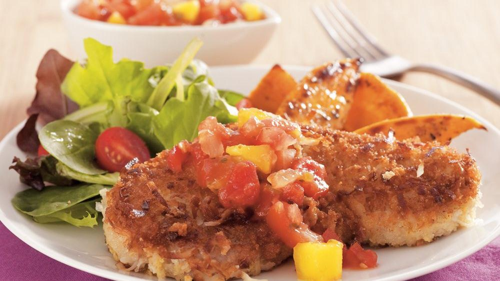 Coconut Pork Cutlets with Mango Salsa