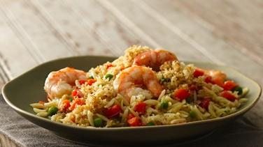 Lemon and Herb-Crusted Orzo and Shrimp