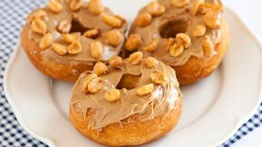 Peanut Butter-Topped Doughnuts