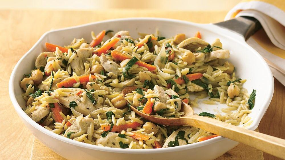 Spicy Chicken and Orzo Skillet
