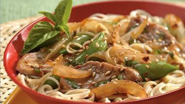 Basil-Pork and Asian Noodles