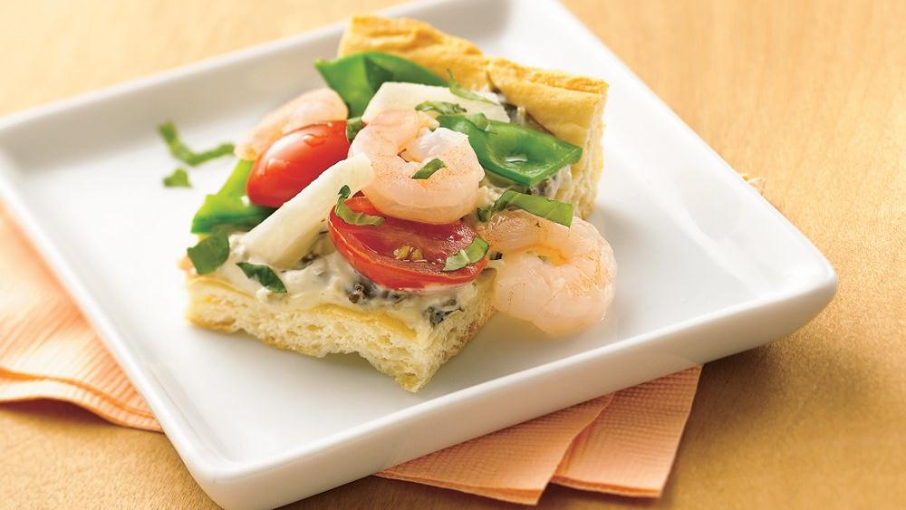 Shrimp and Veggie Appetizer Pizza