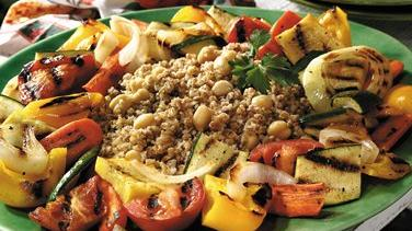 Grilled Vegetables with Chickpea Pilaf
