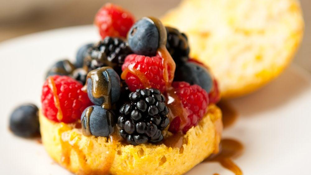 Honey Biscuits with Fresh Berries and Almond Butter-Honey Drizzle