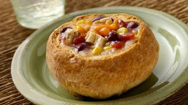 Chicken Taco Stew in Bread Bowls