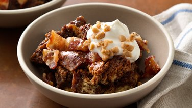 Chocolate Hazelnut-Toffee Bread Pudding with Candied Bacon