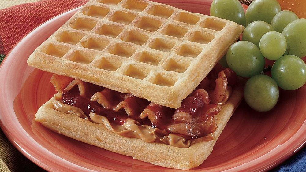 Peanut Butter and Jam-Filled Waffles