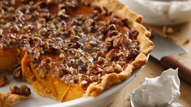 Honeyed Pumpkin Pie with Broiled Praline Topping