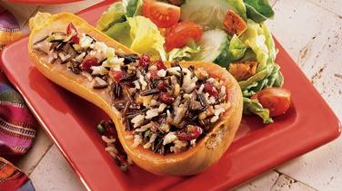 Glazed Wild Rice-Stuffed Squash
