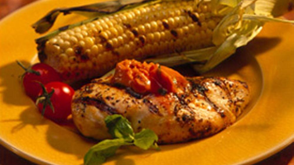Grilled Chicken Breasts with Tomato-Basil Butter