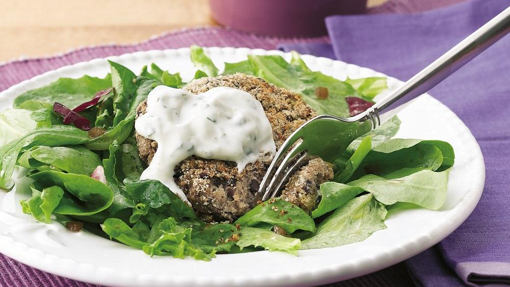 Black Bean Cake Salad with Cilantro-Lime Cream recipe from Pillsbury ...