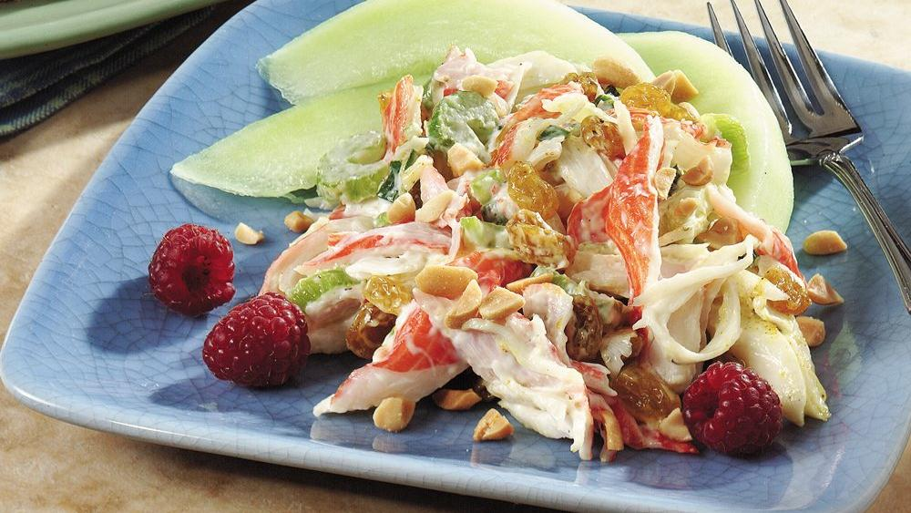 Curried Seafood Salad with Melon Slices