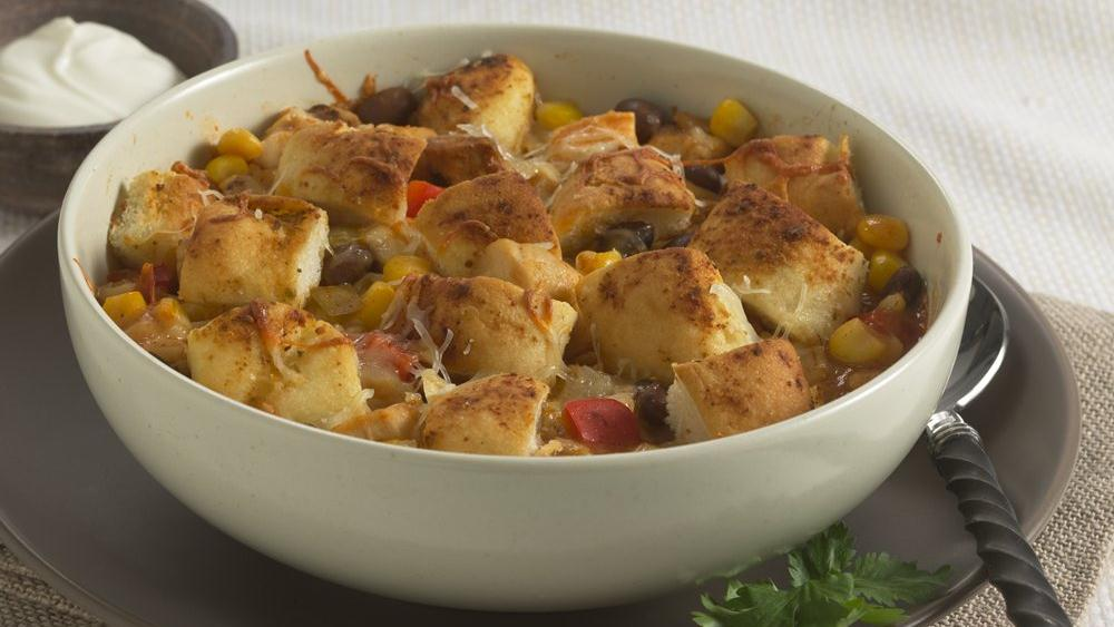 Spicy Chicken Chili with Garlic Croutons